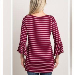 Pinkblush Tops - Pinkblush Burgundy Striped Bell Sleeve Top